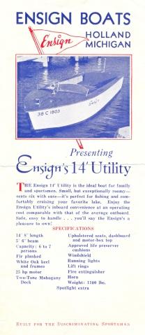 Ensign Boats brochure 1940s