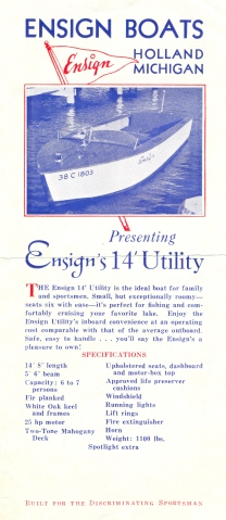 Ensign Boats brochure 1940s